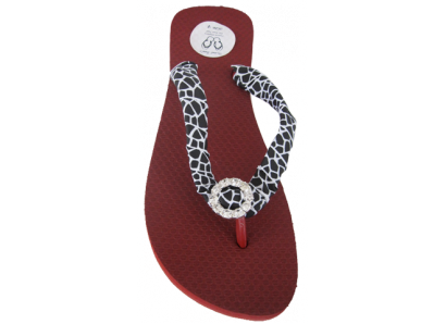 Red Animal Print Giraffe (White) Strap & Crystal Wedge Flip Flops